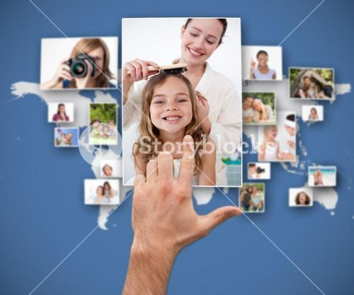 Hand selecting picture