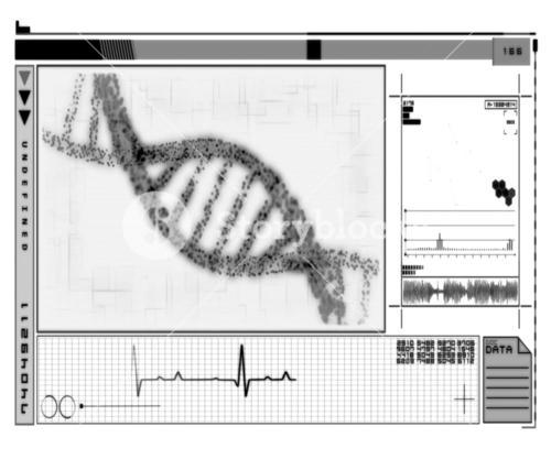 DNA Helix technology in black and white