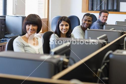 Smiling group in computer class