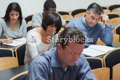 Students working in lecture hall