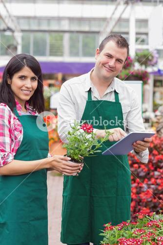 Happy workers with tablet pc in garden center