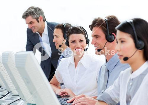 Confident customer service representatives team