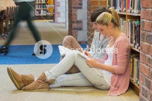 Students sitting in front of a bookshelf