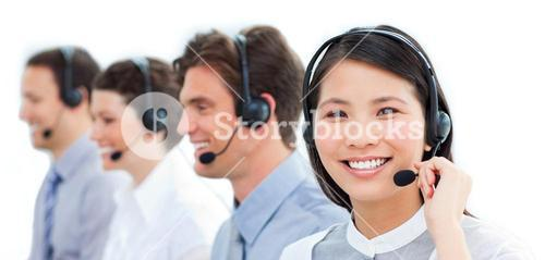 Positive customer service representatives team