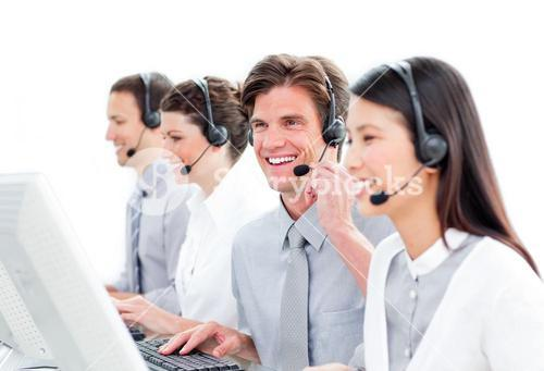 Cute customer service representatives team