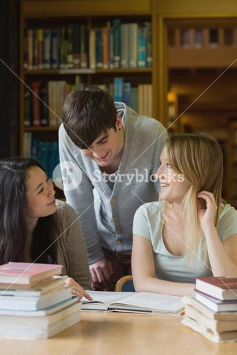 Student is talking to his classmates