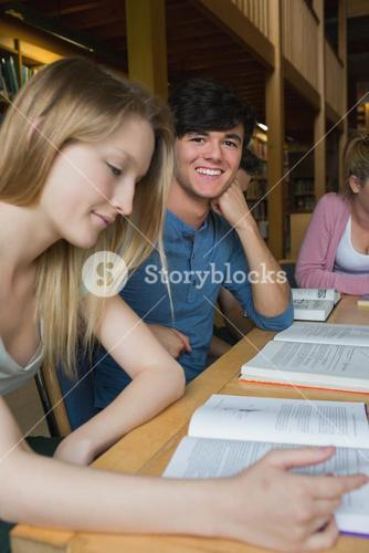 Student looking up from study group