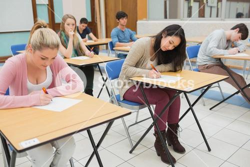 People sitting at the exam hall