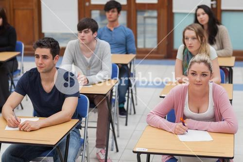 Students sitting in the exam room