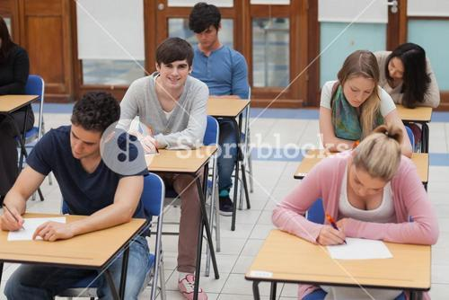 Students sitting in exam room