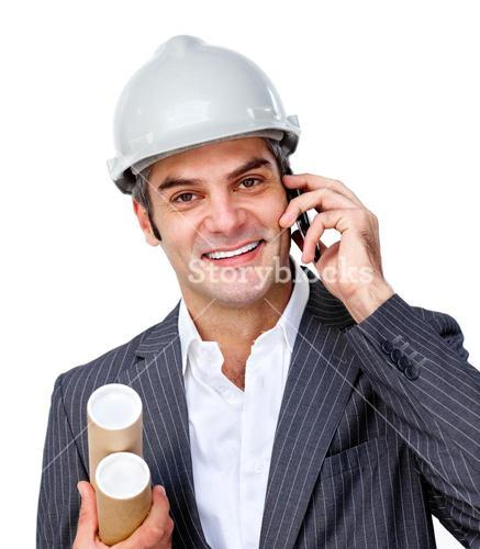 Confident male architect on phone