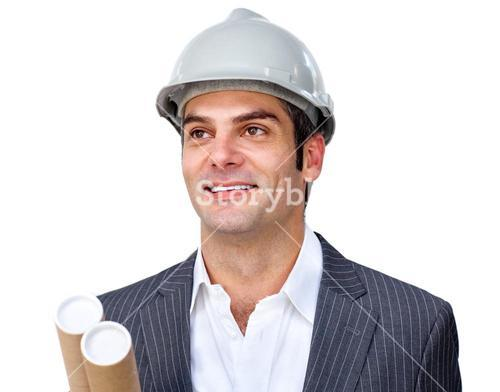 Mature businessman smiling at global business expansion