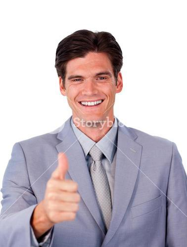 Fortunate businessman with thumb up