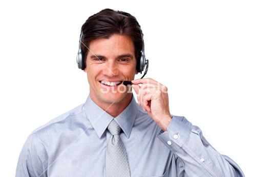 Happy customer service representatives on a headset