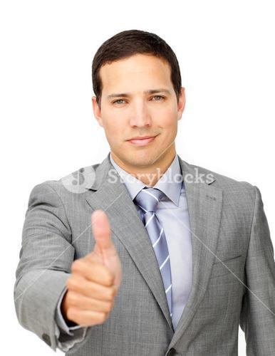 Charismatic businessman with thumb up