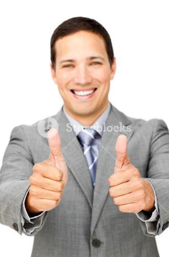 Fortunate businessman with thumbs up
