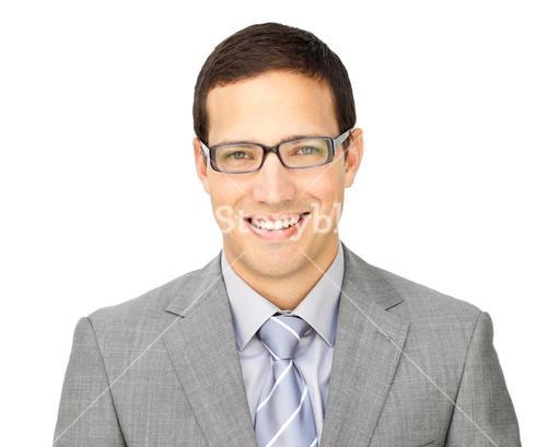 Charismatic young businessman wearing glasses
