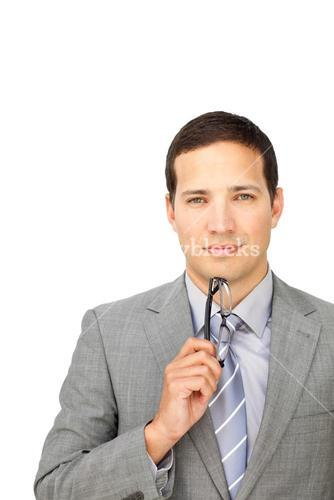 Charismatic businessman holding glasses
