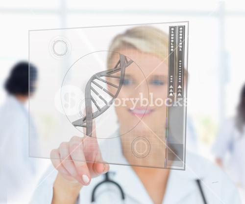 Woman pressing on DNA helix interface