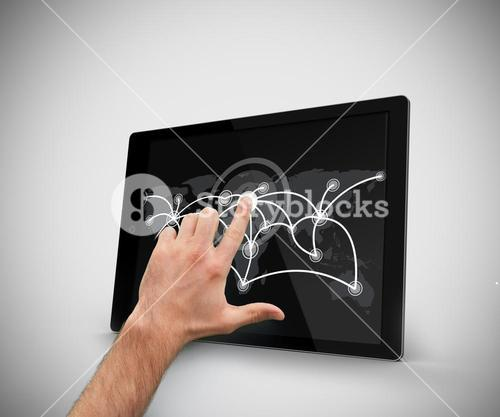 Hand touching at tablet pc