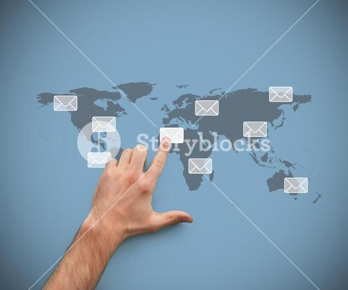 Finger pointing at a message symbol