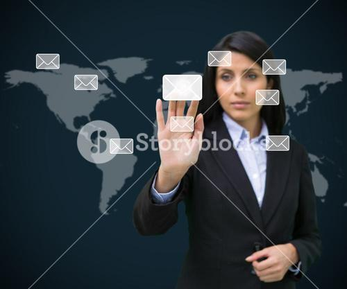 Businesswoman touching at a message symbol