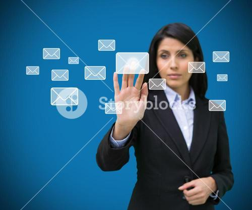 Concentrate businesswoman touching at a message symbol