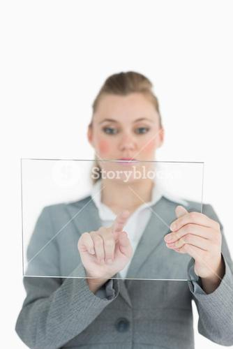 Woman touching on the glass slide