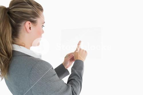 Woman pointing on the glass slide