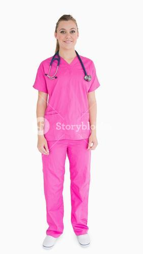 Nurse wearing pink scrubs
