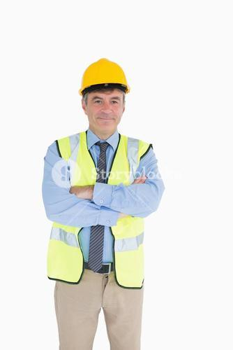 Man wearing hardhat and vest
