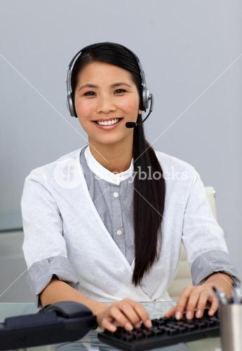 Customer service representative with headset on
