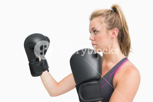 Female boxer in guard position