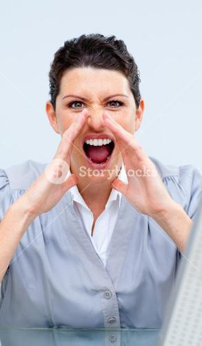 Competitive business woman yelling