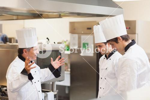 Head chef scolding employees