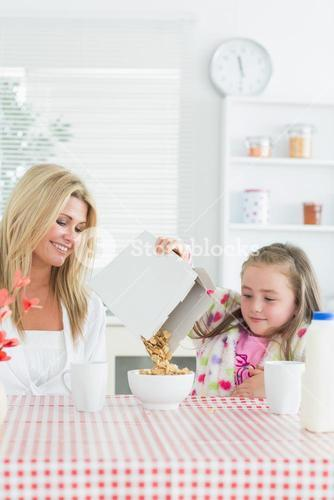 Mother and daughter a breakfast