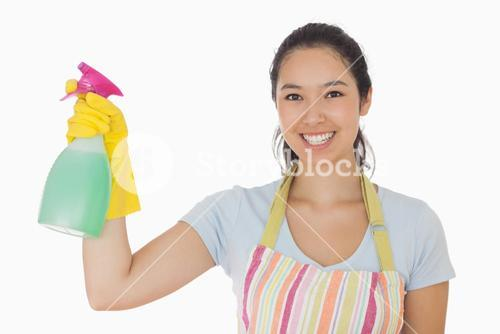 Young woman holding a window cleaner