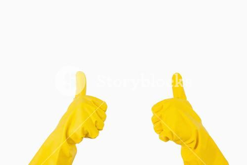 Gloves showing thumbs up