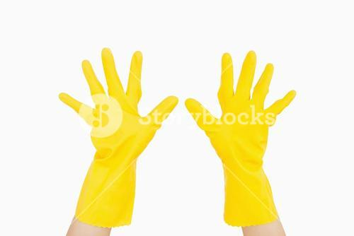 Hands wearing gloves