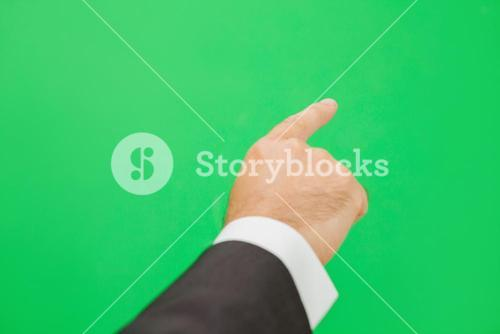 Hand pointing to copy space