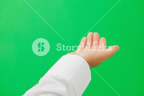Hand calling to green screen
