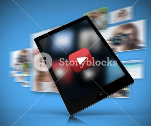 Tablet pc showing play button against blue background