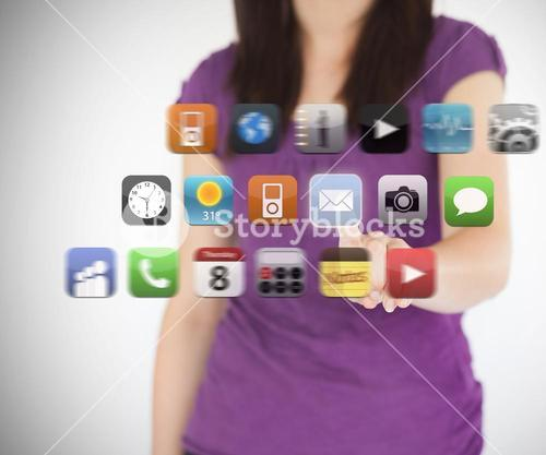 Woman selecting email application