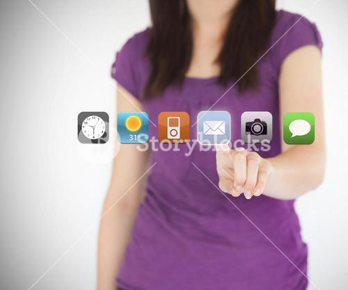 Woman selecting the email application