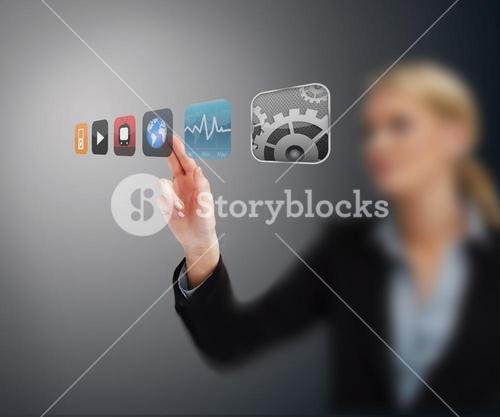 Businesswoman selecting application