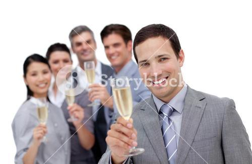 Charismatic business team celebrating an event