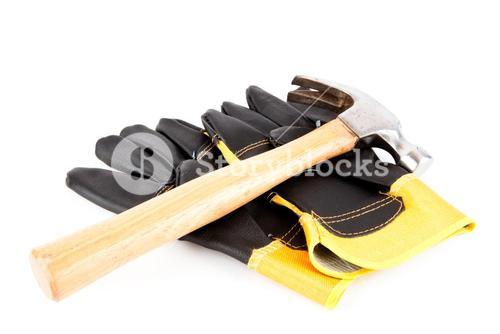 Two builders gloves and a hammer