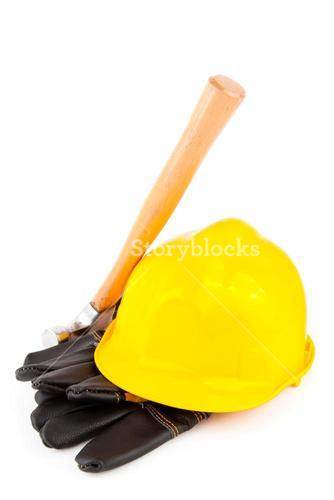 builders gloves hammer and hard hat
