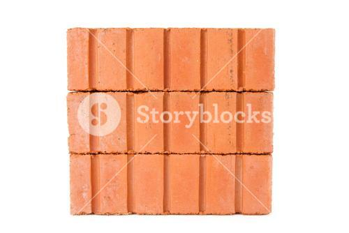 Stack of clay bricks in a wall