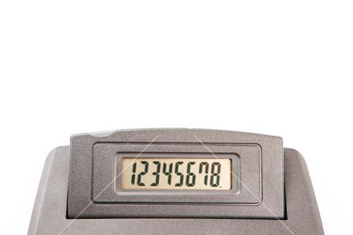 Close up of calculator display with numbers
